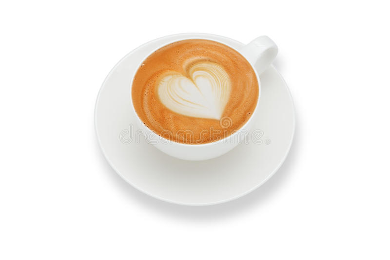 Latte art. Heart shape ,isolate on white royalty free stock photography