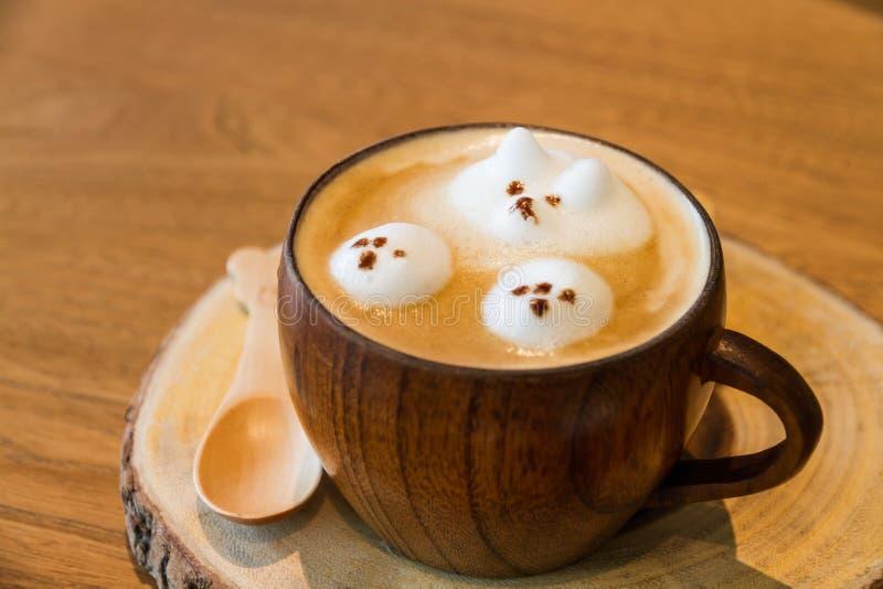 Latte art on coffee stock photo