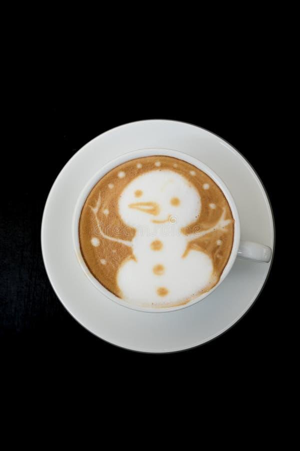 Latte Art Coffee do boneco de neve fotos de stock