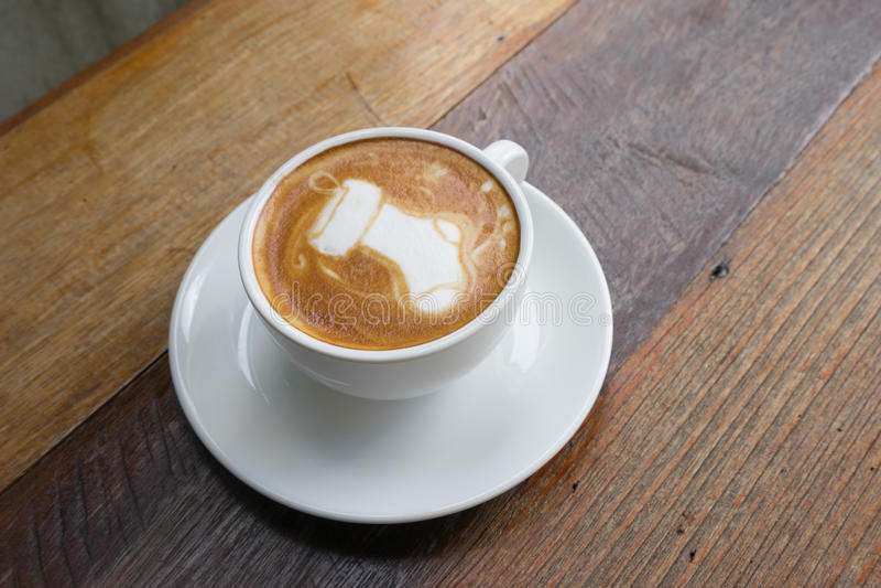 Latte Art Coffee Santa Sock fotografia de stock royalty free