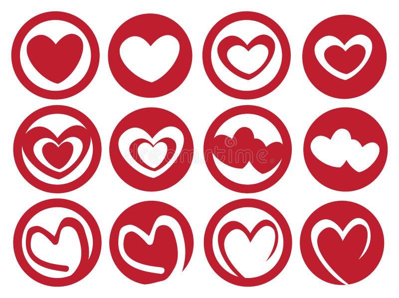 Latte Art Inspired Heart en sistema del icono del vector de la taza stock de ilustración