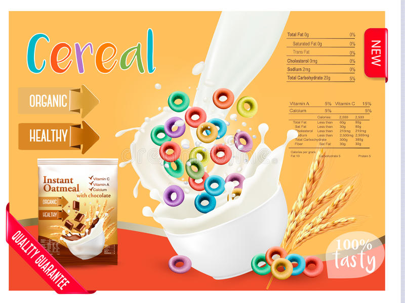 Latte che sfocia in una ciotola con cereale Elemento di progettazione per l'imballaggio ed annunciare illustrazione di stock