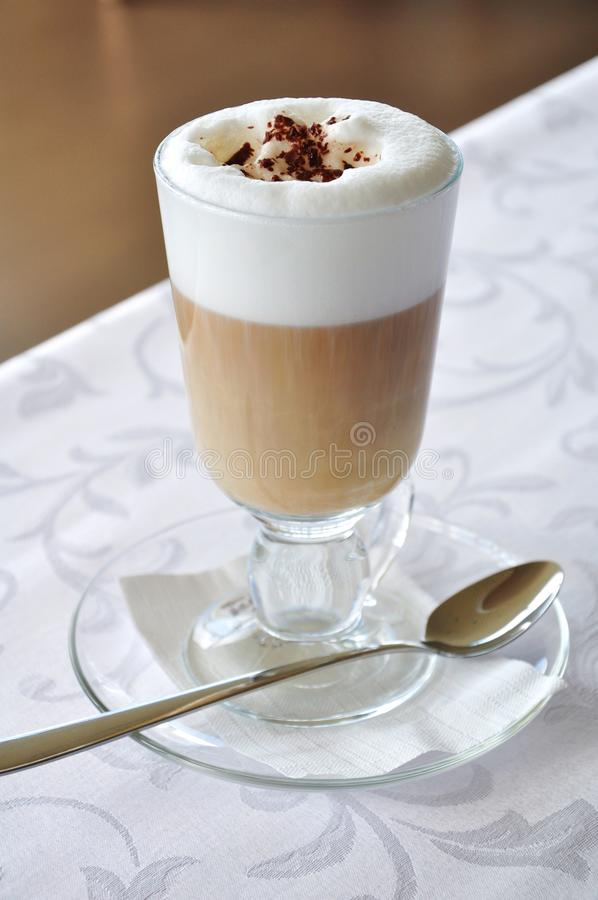 Latte coffee. With chocolate served in restaurant royalty free stock photo