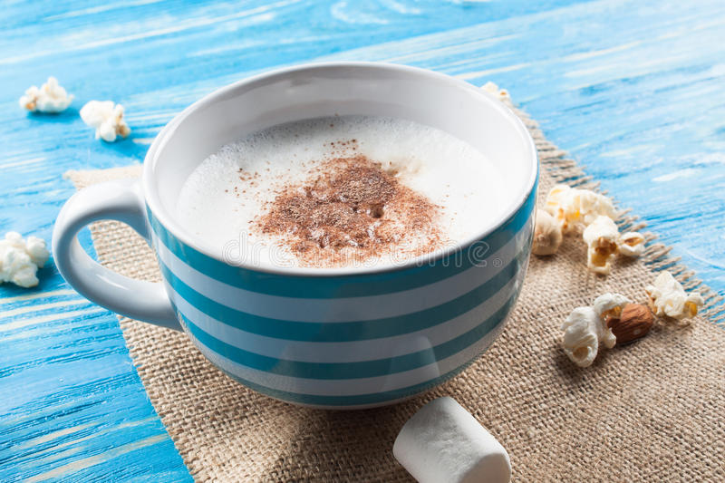 Latte coffee in cup with spices. royalty free stock image