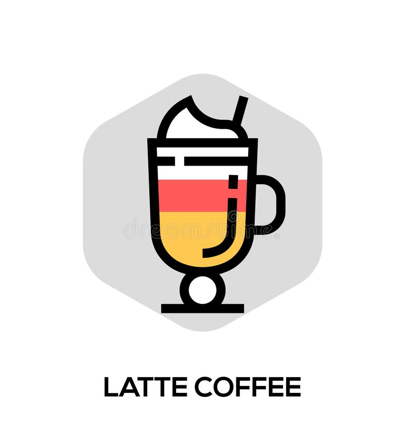Latte Coffee Vector Flat Line Icon. Vector Concept For Web Graphics. royalty free illustration