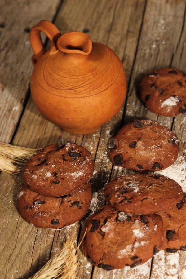Latte con i biscotti immagine stock libera da diritti