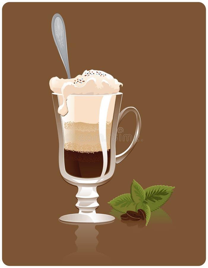 Latte con la menta ilustración del vector