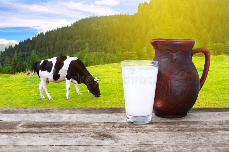 Latte con la mucca sui precedenti immagine stock