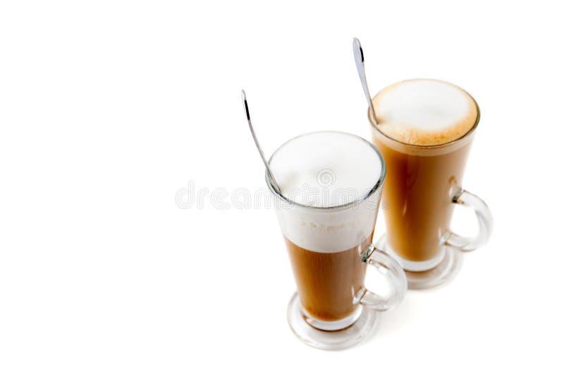 Latte de cristal alto del café dos fotos de archivo libres de regalías