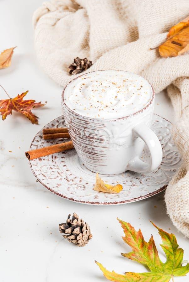 Latte de potiron avec la crème fouettée photographie stock