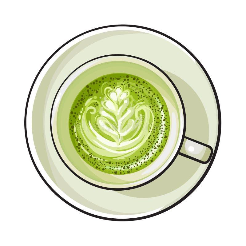 Latte del té verde de Matcha, bebida del capuchino, visión superior stock de ilustración