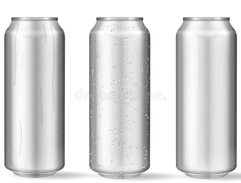 Latte di alluminio realistiche con le gocce di acqua royalty illustrazione gratis