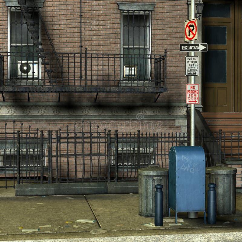 Latte di immondizia davanti ad una casa di New York royalty illustrazione gratis