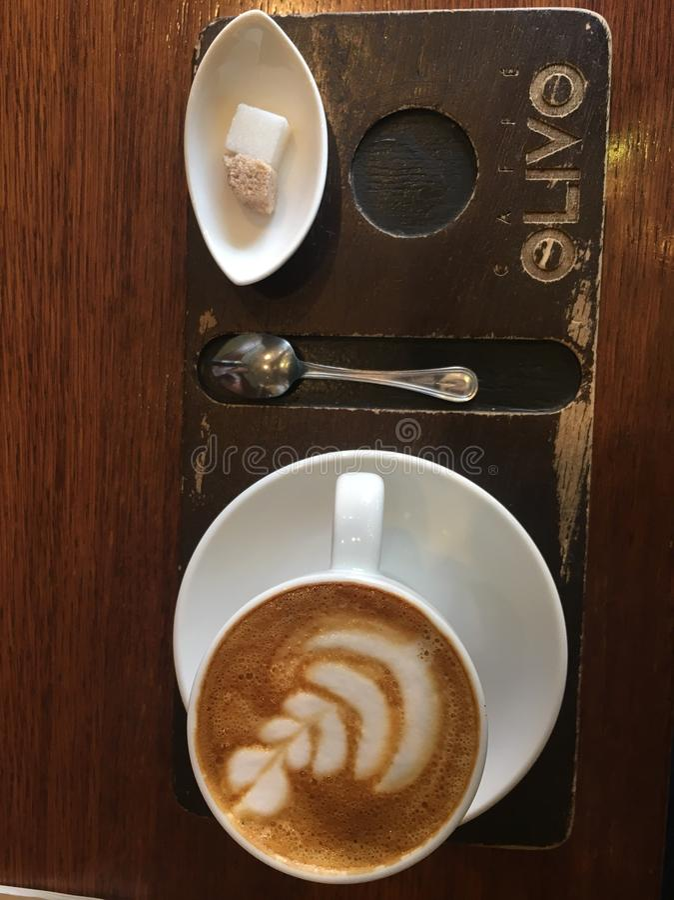 Latte do caffee de Olivo foto de stock