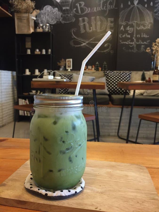Latte do greentea de Matcha imagens de stock