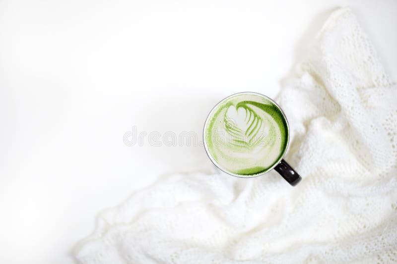 Latte do matcha do chá verde imagem de stock