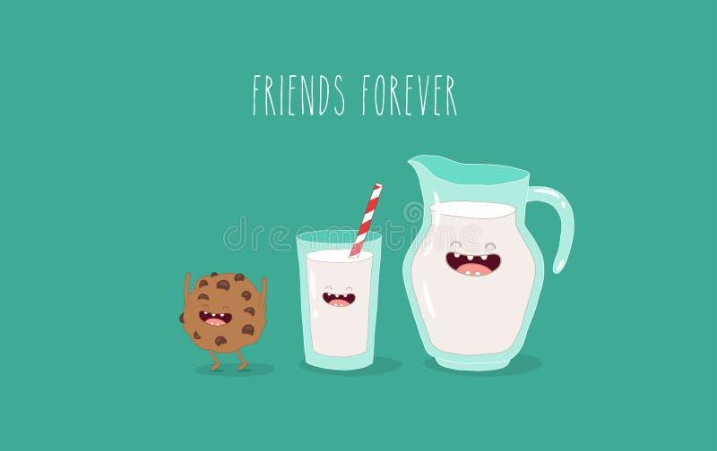 Latte e biscotti royalty illustrazione gratis