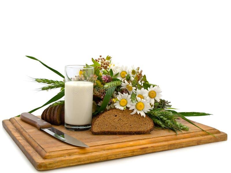 Latte e camomilla del pane immagine stock