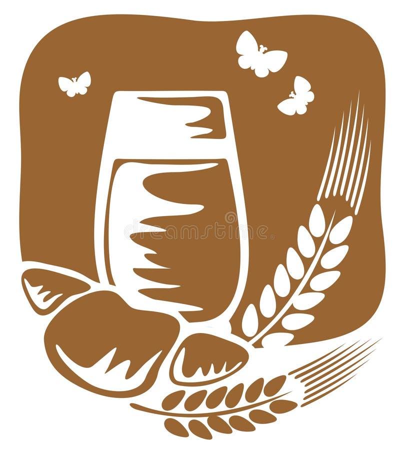 Latte e croissant illustrazione vettoriale