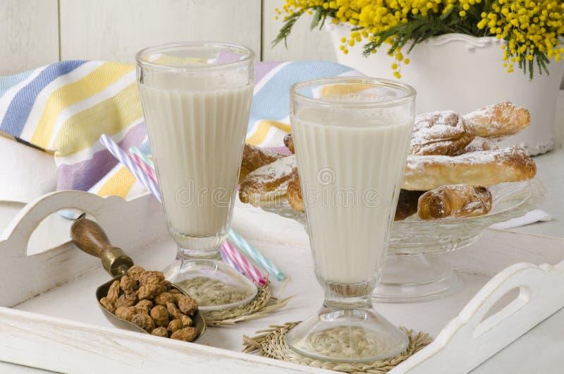Latte e fartons del dado della tigre Horchata de chufa fotografia stock