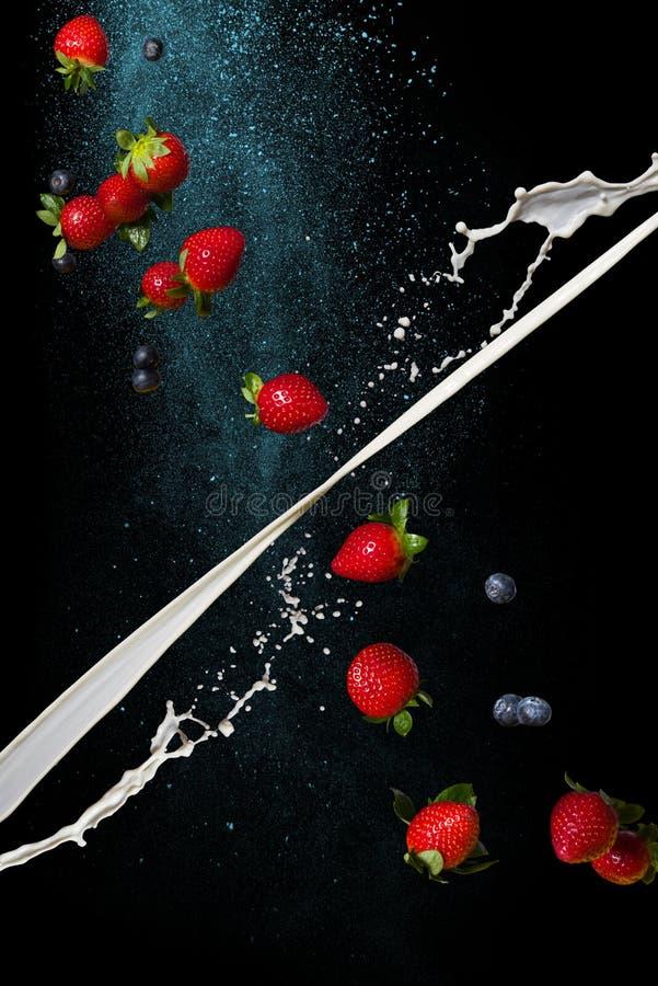 Latte e fragola su un fondo scuro Fermi il momento nella gravità zero immagine stock