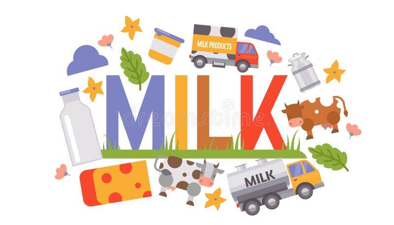Latte e produzione lattiera che elaborano l'illustrazione di vettore Camion di consegna del latte, mucca, contenitori lattei e bo illustrazione di stock