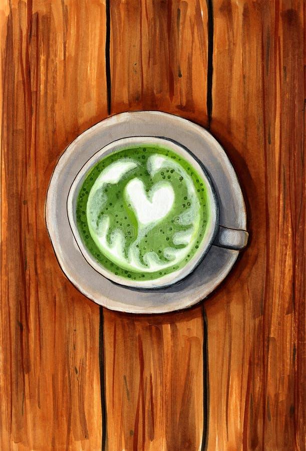 Latte för grönt te royaltyfria bilder