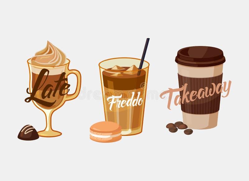 Latte för med is kaffe eller mocka och freddo, koppmuff royaltyfri illustrationer