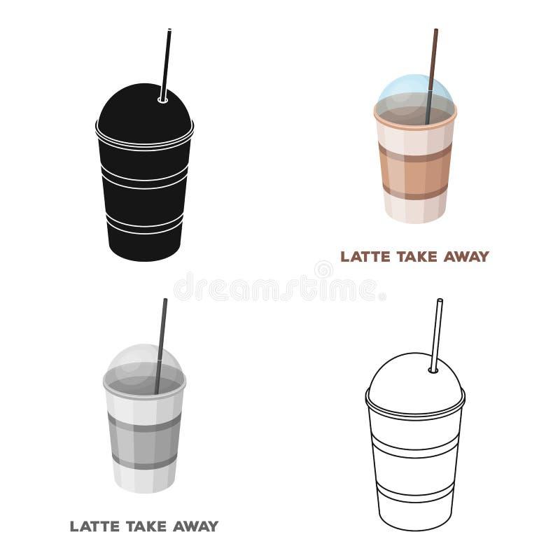 Latte för tagande-bort Olika typer av den enkla symbolen för kaffe i symbol för tecknad filmstilvektor lagerför illustrationrengö vektor illustrationer