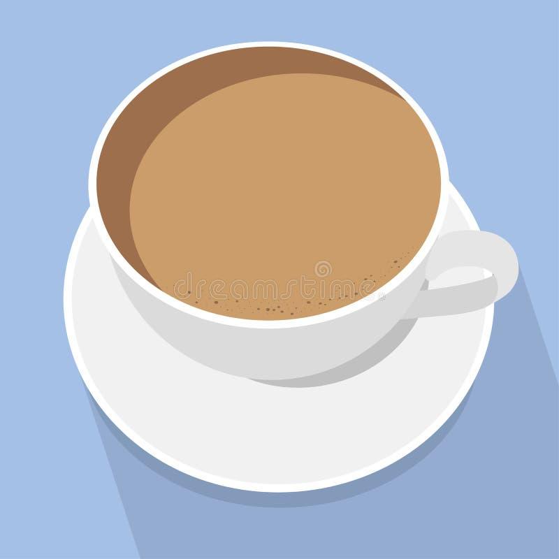 latte f?r kaffekopp Vit kuper p? bl?ttbakgrund Top besk?dar ocks? vektor f?r coreldrawillustration vektor illustrationer