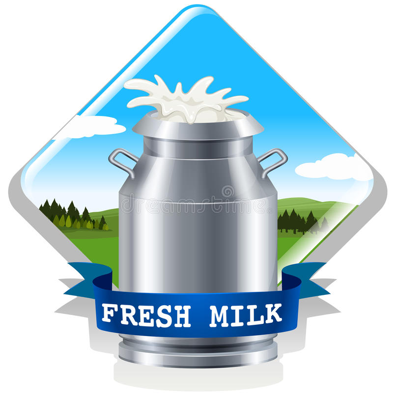Latte fresco con testo illustrazione di stock