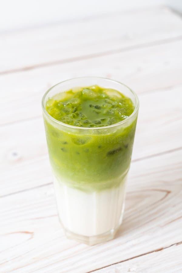 Latte ghiacciato del t? verde di matcha immagine stock libera da diritti