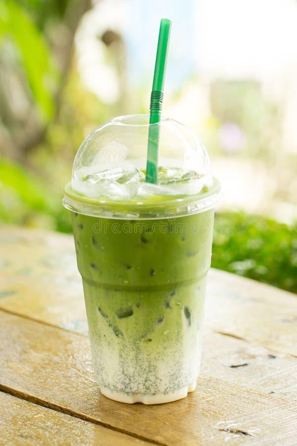 Latte helado del té verde imagen de archivo libre de regalías