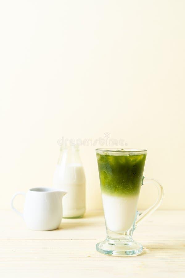 Latte helado del t? verde del matcha imágenes de archivo libres de regalías