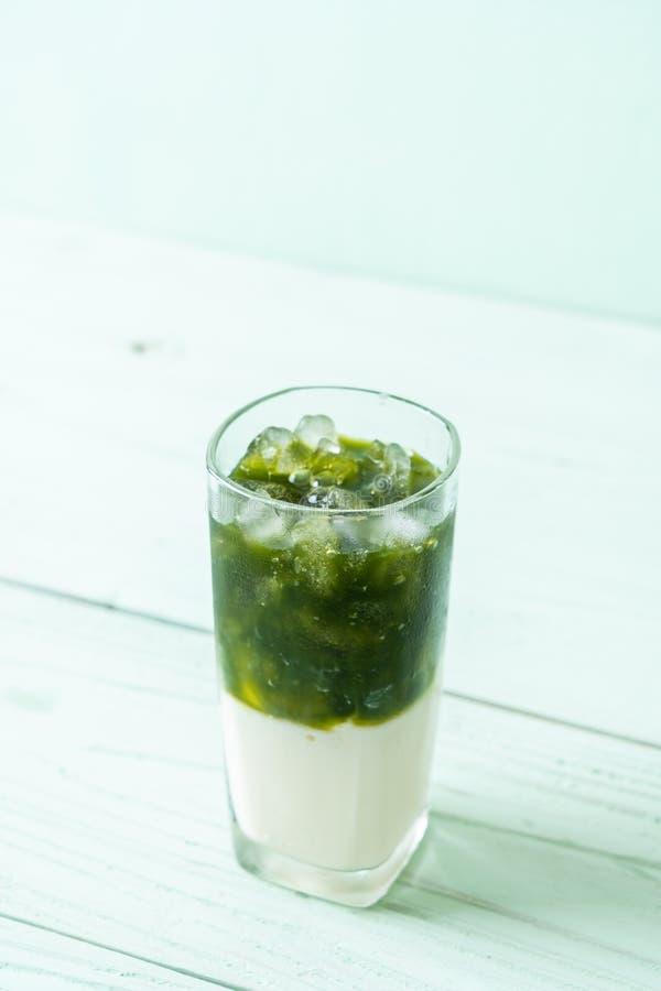 Latte helado del t? verde del matcha imagen de archivo libre de regalías