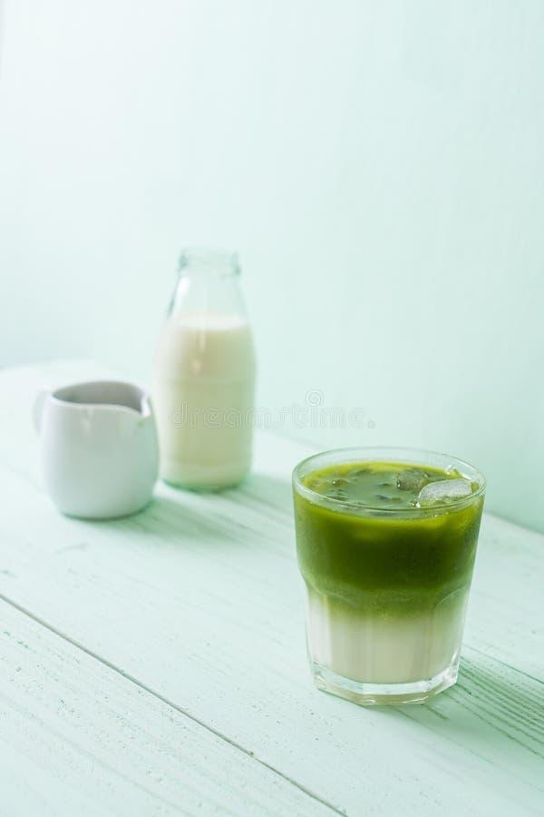 Latte helado del t? verde del matcha foto de archivo libre de regalías