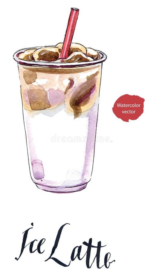 Latte helado o café helado en taza para llevar con la paja libre illustration