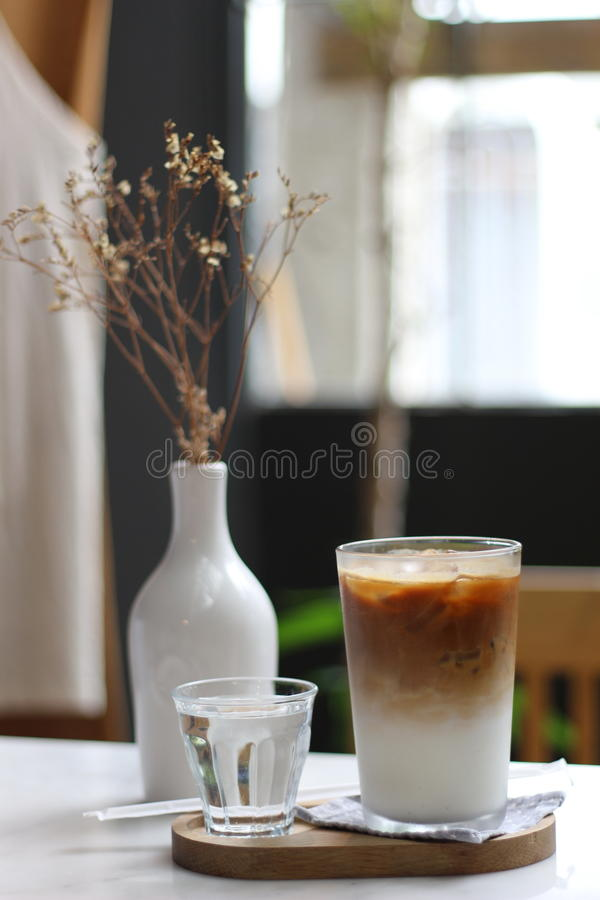 Latte ice with water royalty free stock photography