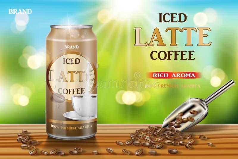Latte kawowa aluminiowa puszka z mleka i fasoli reklamami 3d ilustracja gorącego arabica pakunku kawowy projekt na drewnianym sto royalty ilustracja