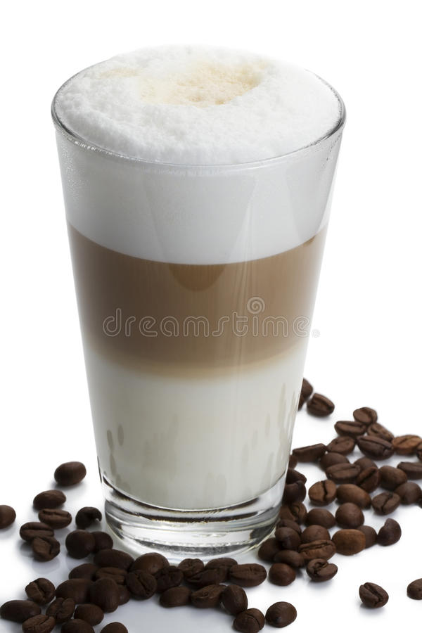 Download Latte Macchiato With Coffee Beans On White Stock Photography - Image: 16574242