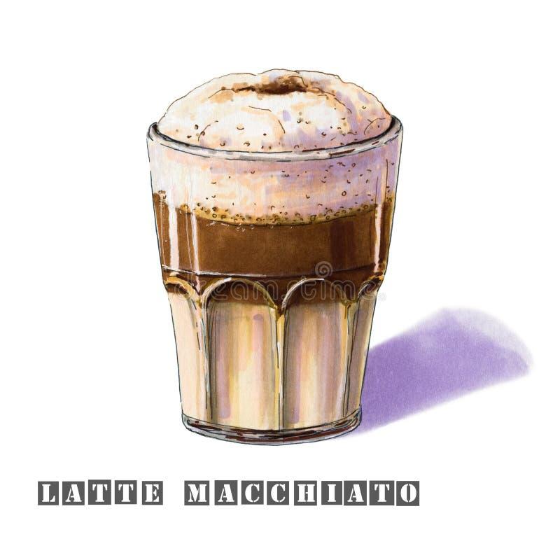 Latte Macchiato-Illustration in einem Glasbecher lizenzfreie abbildung