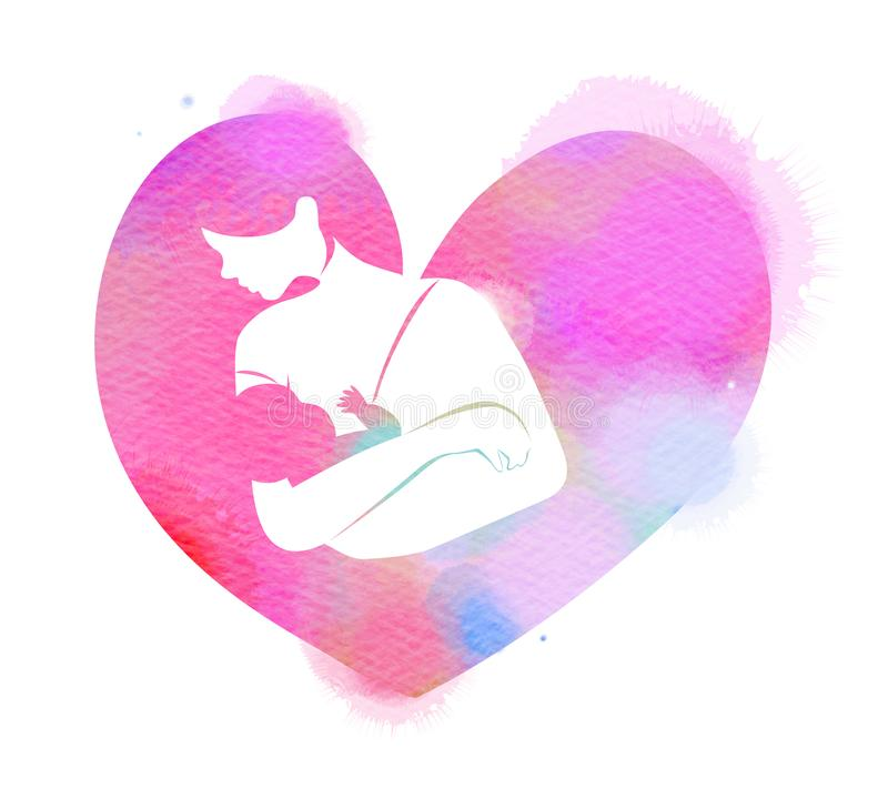 Latte materno d'alimentazione della giovane madre la sua siluetta del bambino sul fondo dell'acquerello Giorno felice del `s dell illustrazione di stock