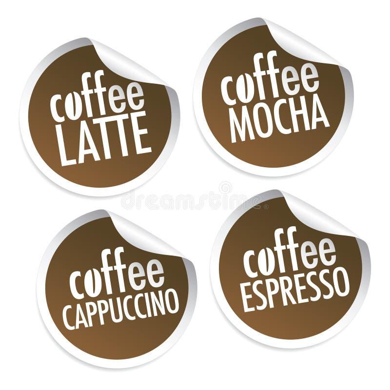 Latte, Mocha, Cappuccino's en Espresso vector illustratie