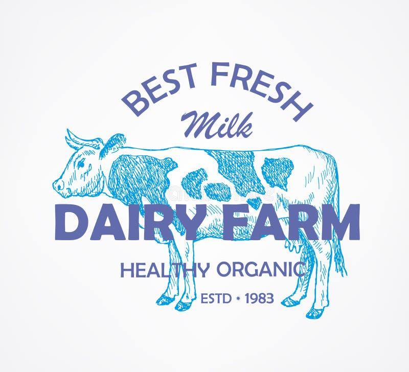 Latte, mucca Modello del segno, di simbolo, dell'emblema o di logo di vettore royalty illustrazione gratis