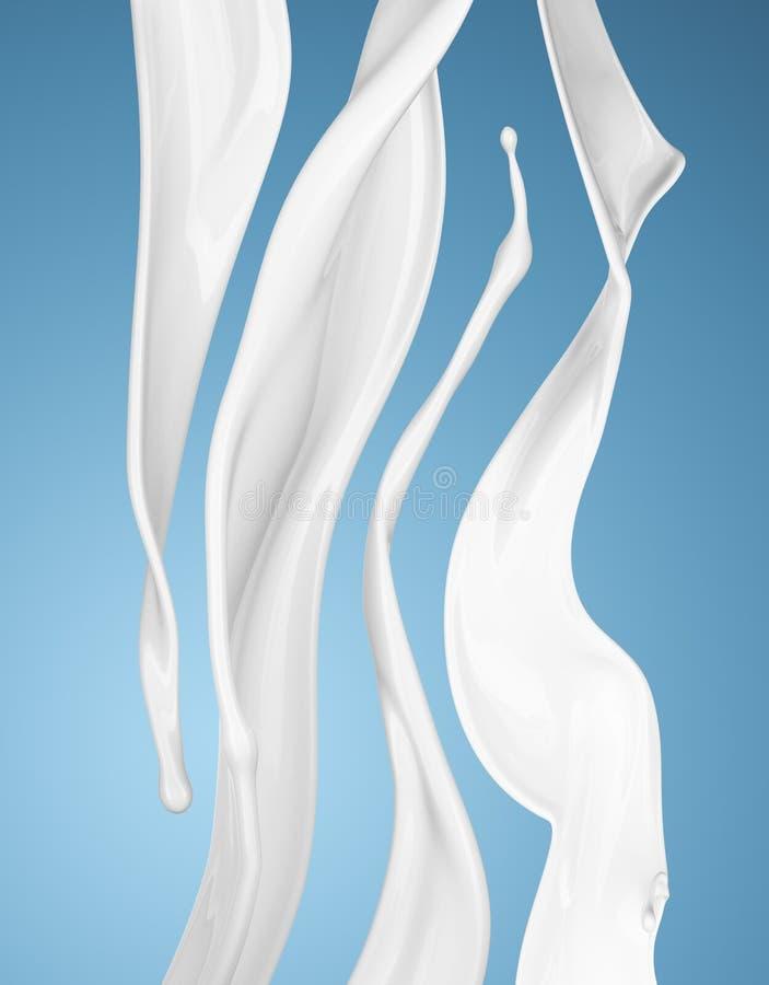 Latte o spruzzata liquida bianca su fondo blu fotografie stock