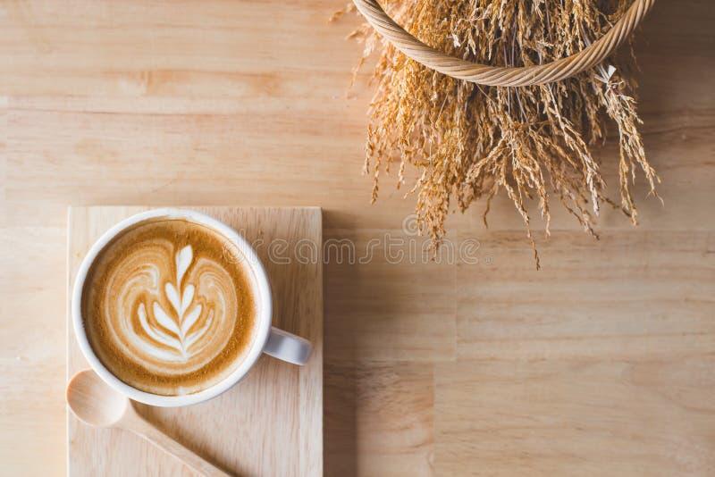Latte piano del caffè di disposizione fotografia stock