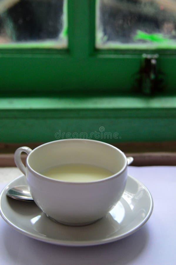 Latte su una tazza bianca con il fondo della finestra fotografie stock libere da diritti