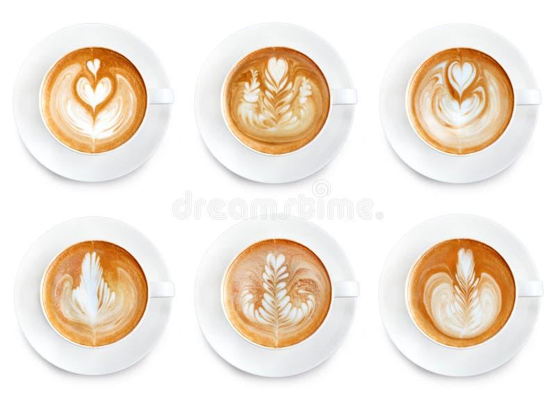 Latte sztuki kawa odizolowywająca na białym tle obraz stock