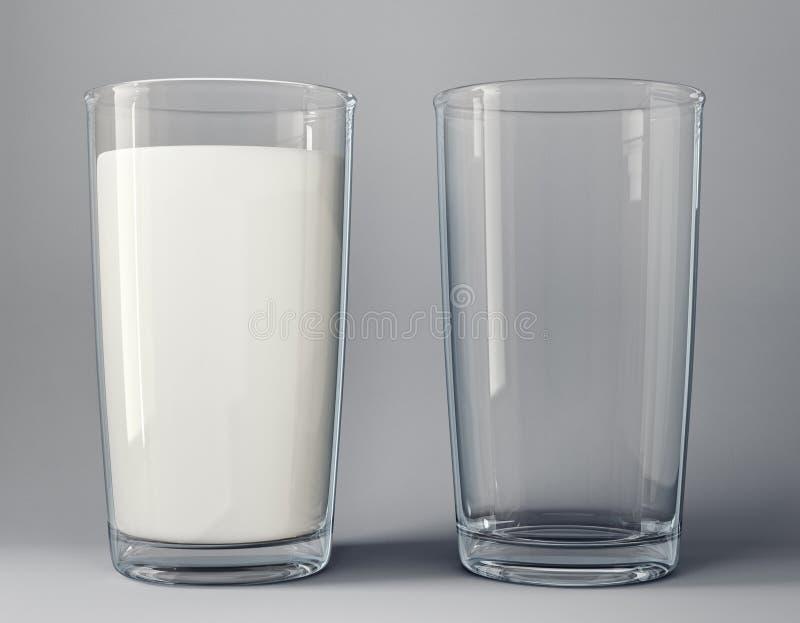 latte in vetro e vetro vuoto illustrazione di stock