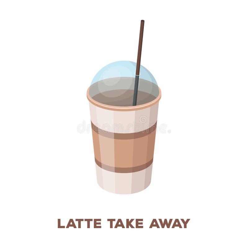 Latte voor meeneem De verschillende types van koffie kiezen pictogram in van de het symboolvoorraad van de beeldverhaalstijl vect vector illustratie